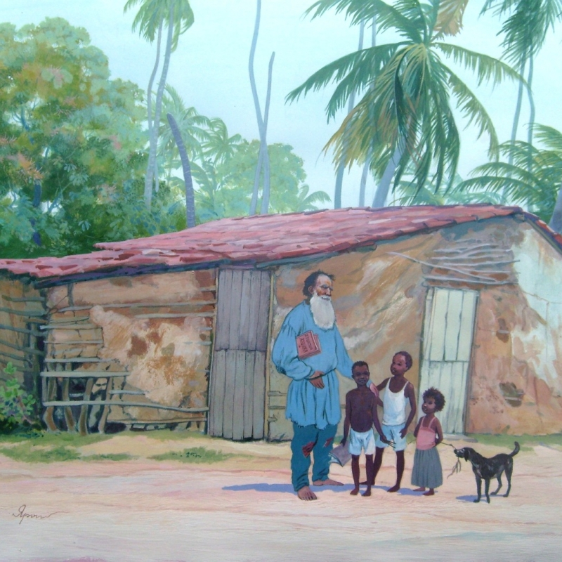 Лев Толстой с бразильскими детьми / Leão Tolstoy com crianças brasileiras